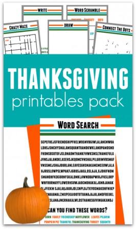 Thanksgiving Printables Pack { FREE }