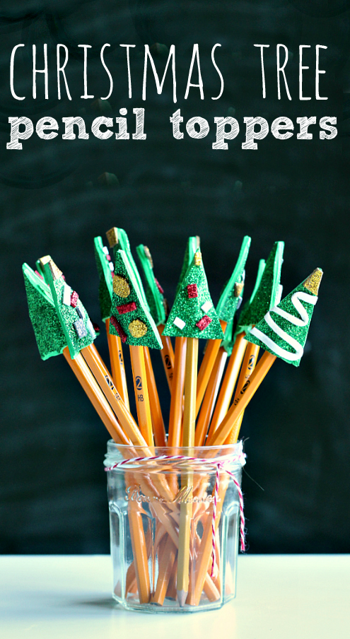 Christmas tree pencil toppers craft great class gift for Easy crafts for christmas presents