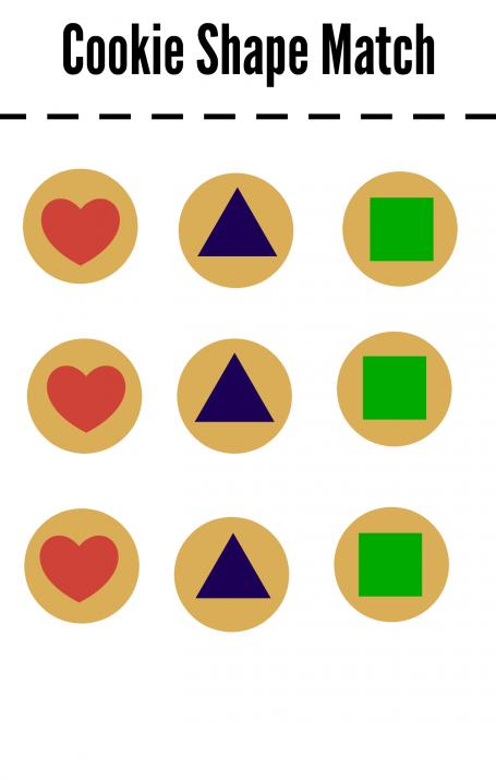 cookie shape sorting printable
