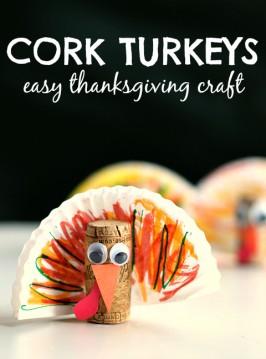 Cork Turkey – Easy Thanksgiving Crafts