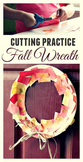 Thanksgiving wreath craft cutting practice