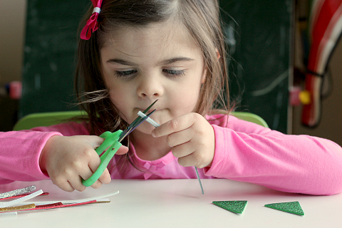fine motor activity and christmas tree pencil toppers