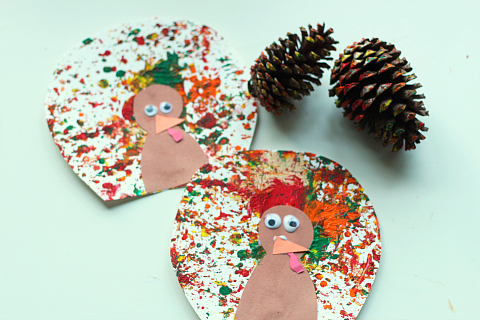 pinecone painted turkey craft for kids