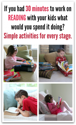 If you have 30 extra minutes to work on literacy what would you spend it doing?  Simple ways parents can help their kids read.