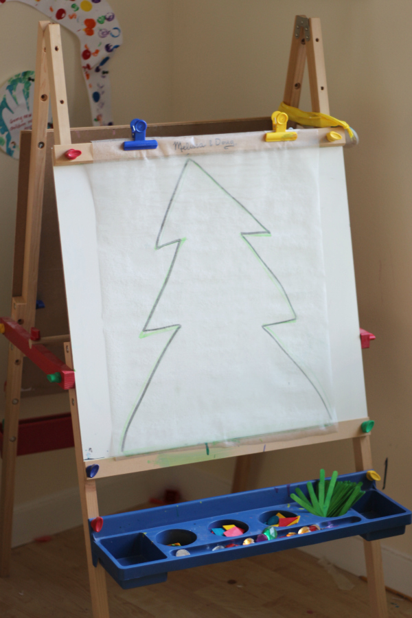 christmas tree sticky easel set up