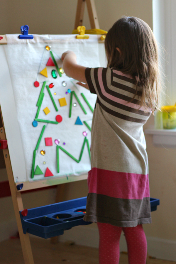 christmas tree sticky mural activity