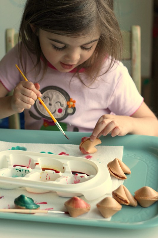 painting fortune cookies for new years eve family activity