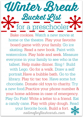 FREE Printable Winter Break Bucket List for Preschoolers