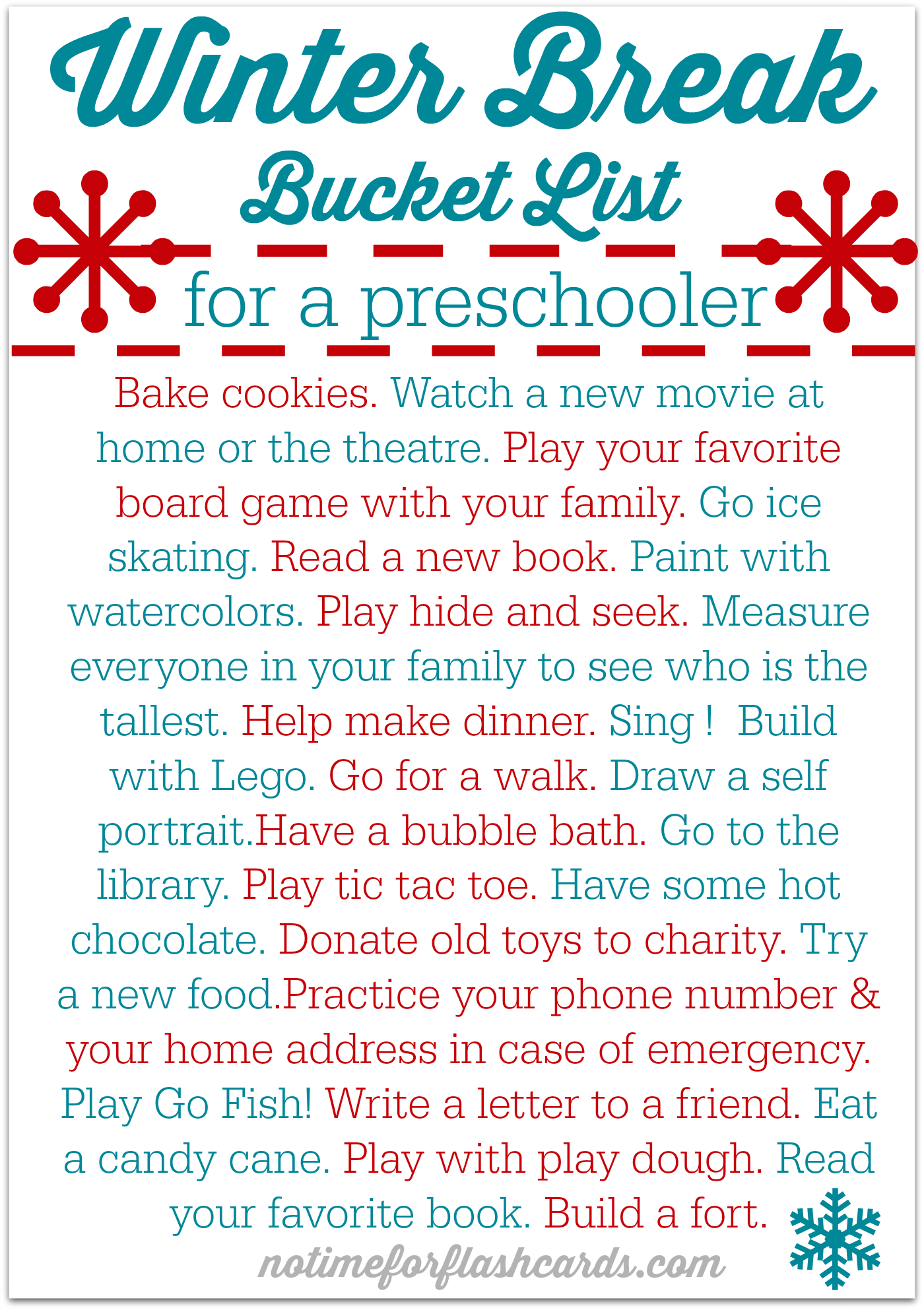 Free printable winter break bucket list for preschoolers for Christmas activities for families to do
