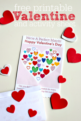 FREE printable valentine aactivity sheet