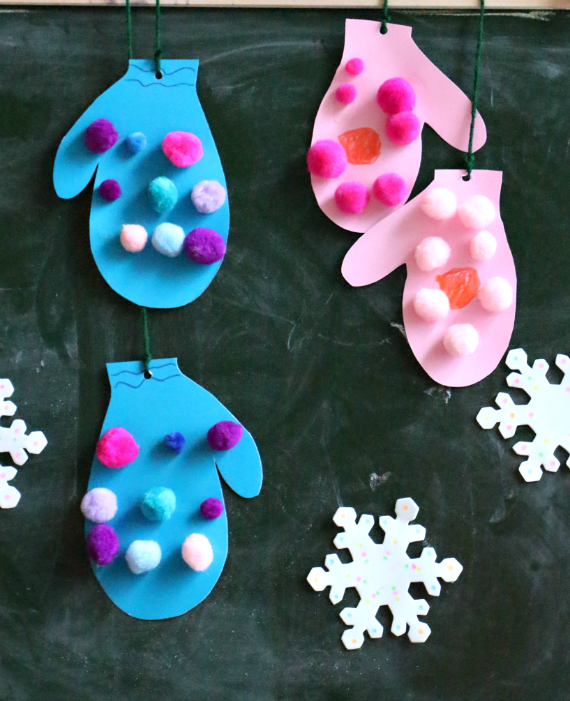 mitten craft for winter theme