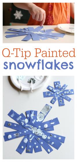 Q-tip Painted Snowflake Crafts