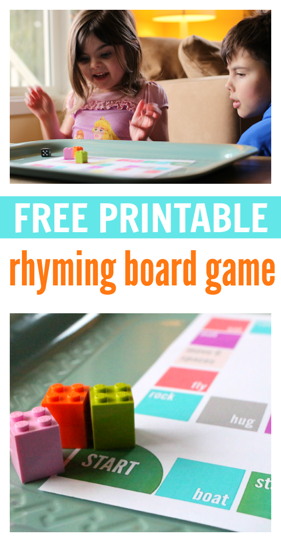 Rhyming Board Game - FREE Printable - No Time For Flash Cards