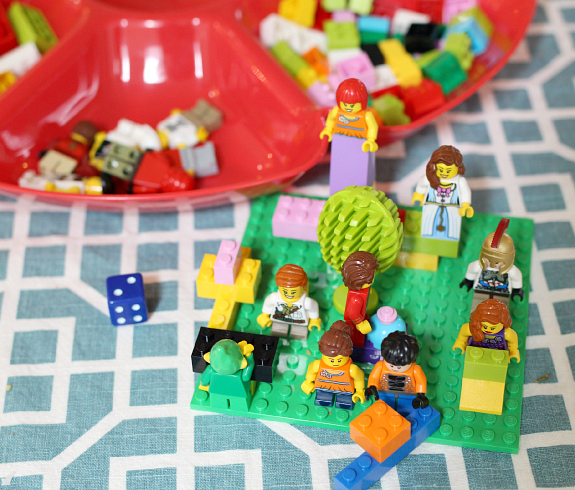 LEGO roll and build math game