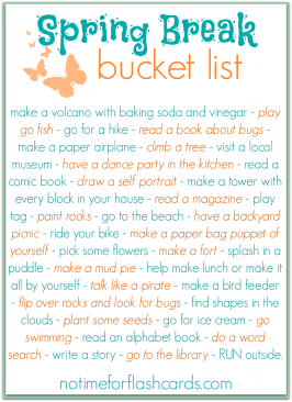 spring break bucket list for kids