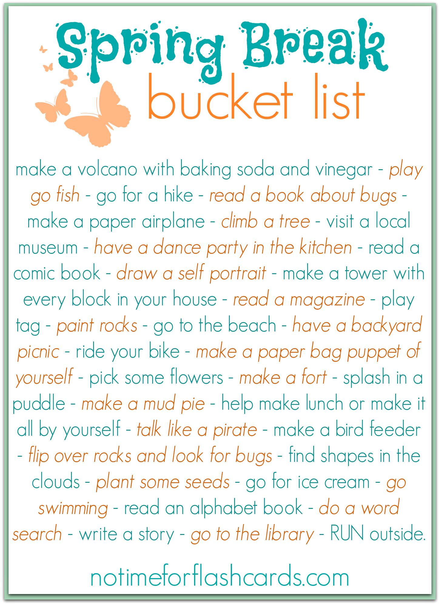 Vacation Bucket List Spring Break Bucket List