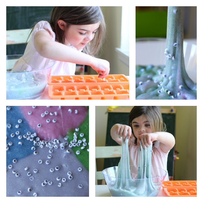 Alphabet Slime sensory activity for kids