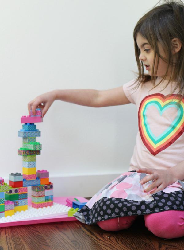 washi tape on lego duplo blocks