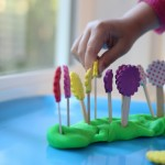 Play Dough with Popsicle Stick Flowers