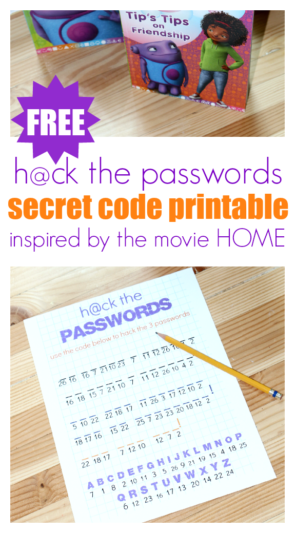 FREE printable secret code activity inspired by the movie HOME! Perfect for a birthday party of family movie night!