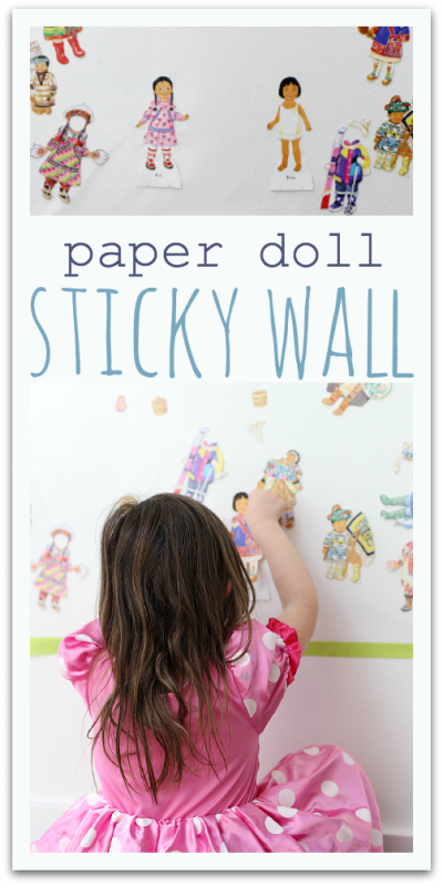 sticky wall paper doll activity