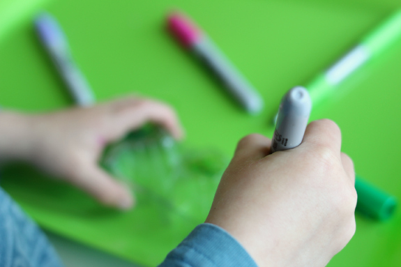 sharpies in preschool age crafts egg cartons
