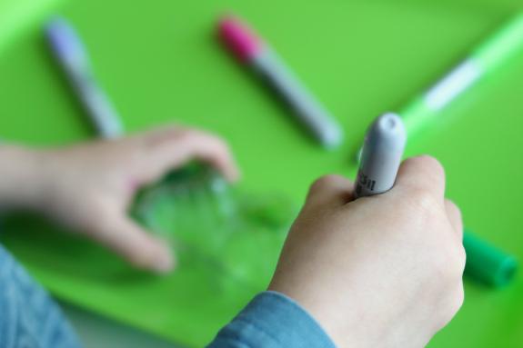 sharpies in preschool age crafts egg cartons