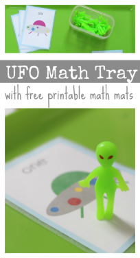 math tray actiities preschool space theme