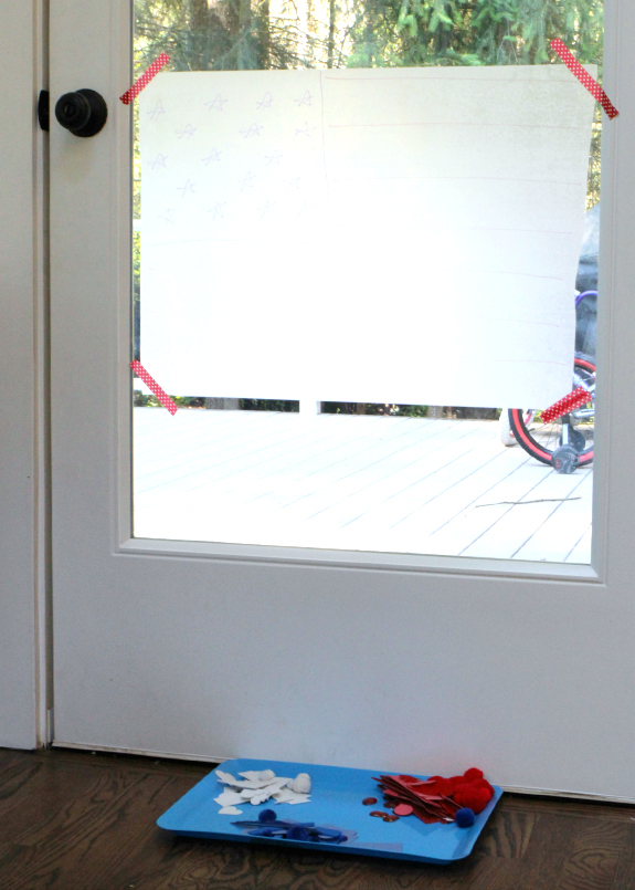 4th of july sticky window art project