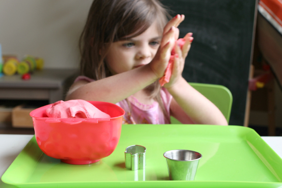Strawberry playdough play activity for kids