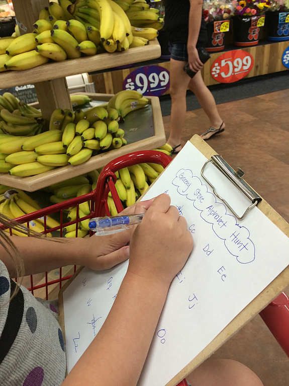 Super simple grocery store alphabet hunt