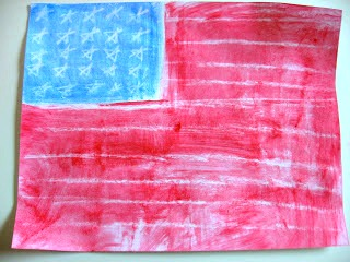 american flag crayon resist