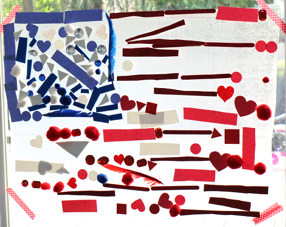 american flag sun catcher craft for 4th of july