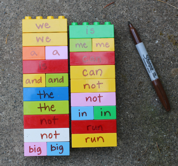 duplo sight word game for kids