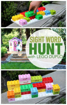 Outdoor Sight Word Hunt with LEGO DUPLO