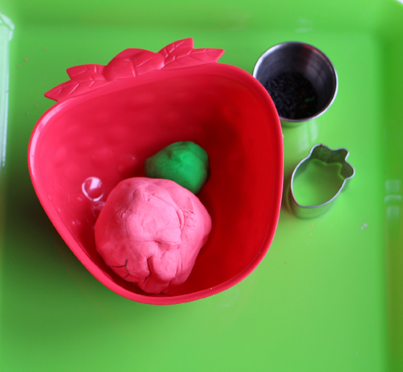 strawberry playdough supplies