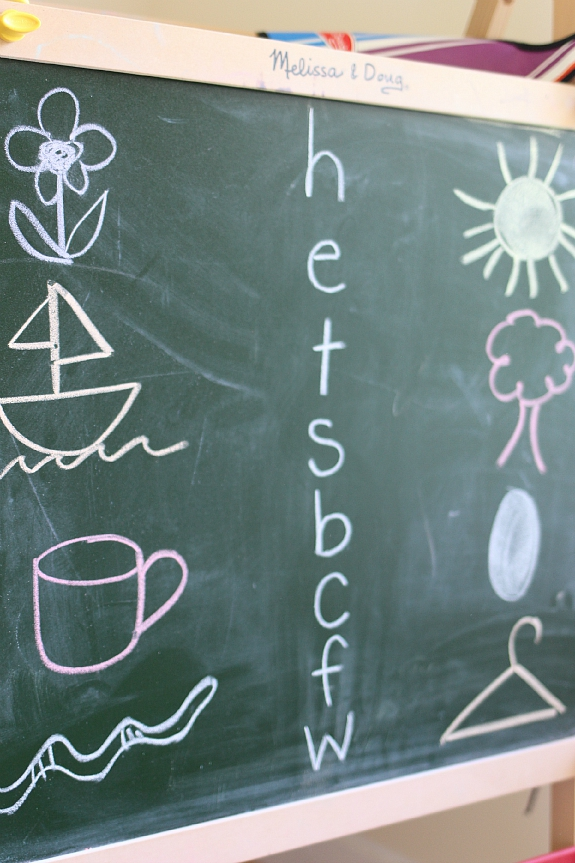 beginning letter sound activity with chalkboard