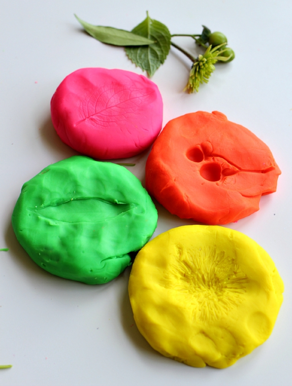 nature prints with playdough for preschool
