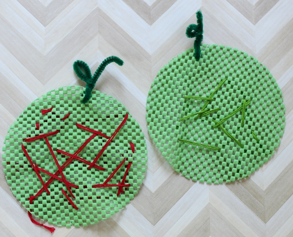 apple sewing activity for kids