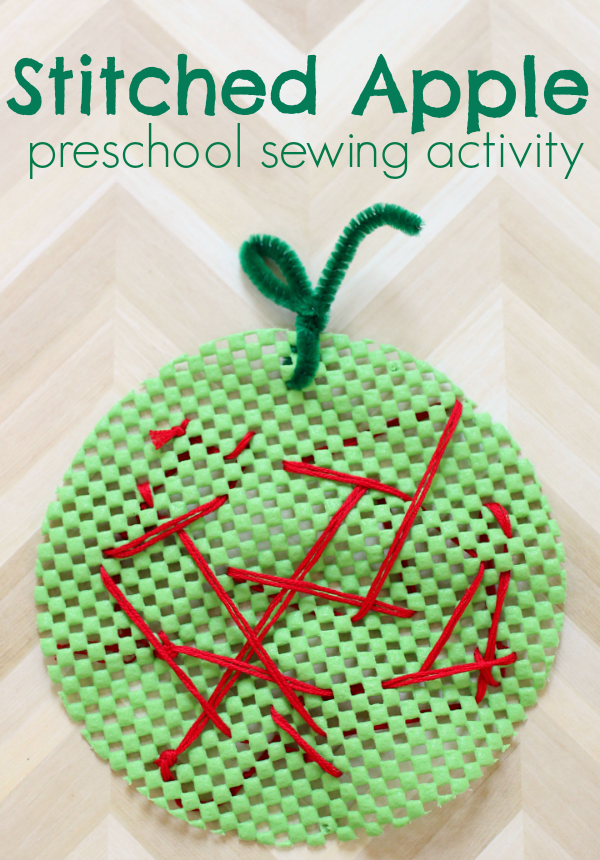 Stitched Apple - Preschool Sewing Activity - No Time For ...