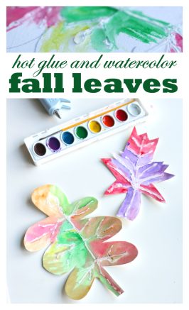 Hot Glue & Watercolor Fall Leaves