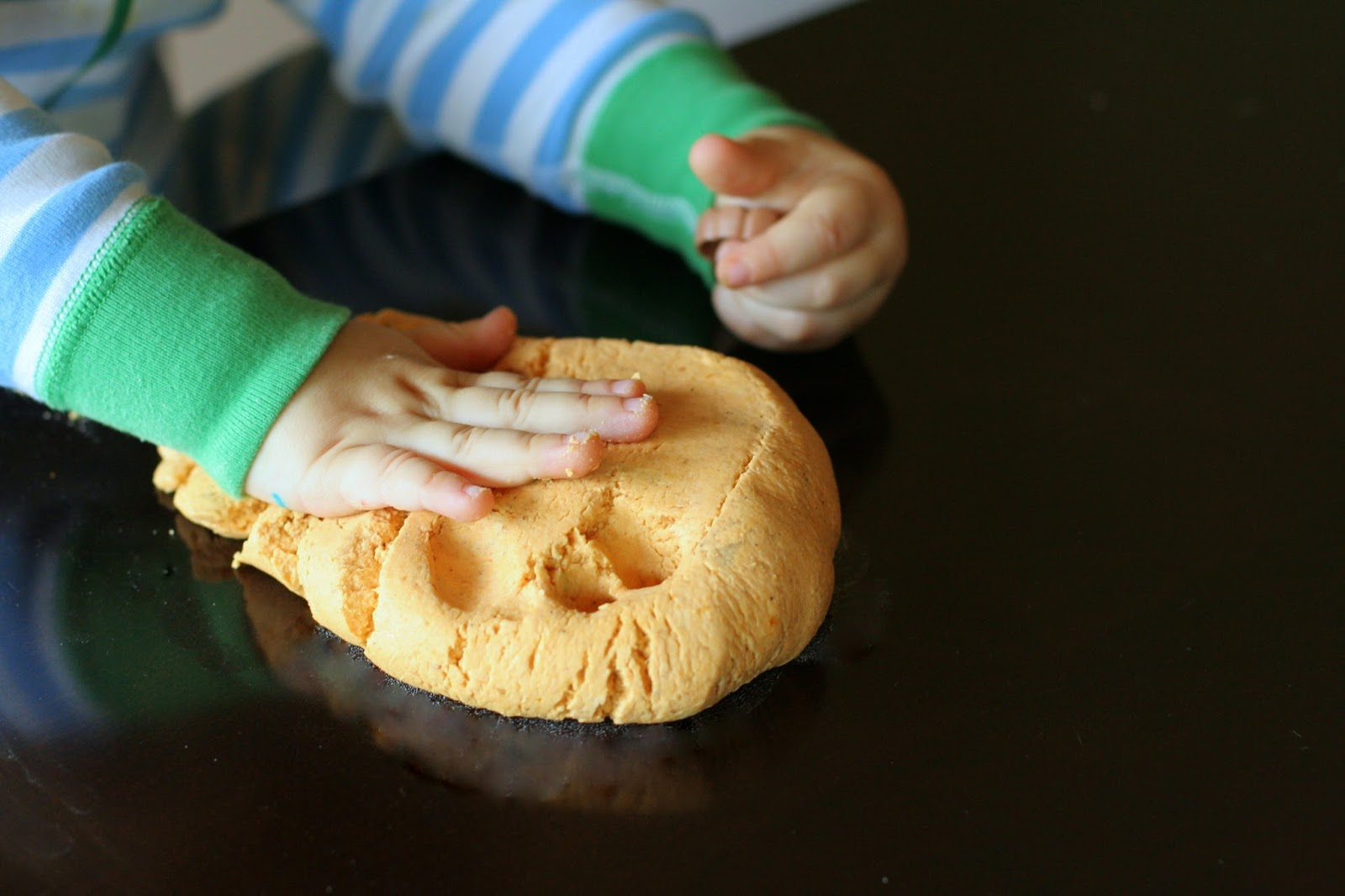 pumpkin pie play dough from Hands On As We Grow