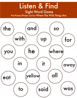 image regarding Sight Word Games Printable identified as Exactly where The Wild Aspects Are - Hear Locate Sight Phrase