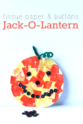 Tissue Paper & Buttons Jack-O-Lantern Craft