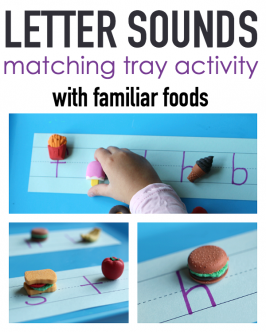 Letter Sounds Tray Activity – with familiar foods!