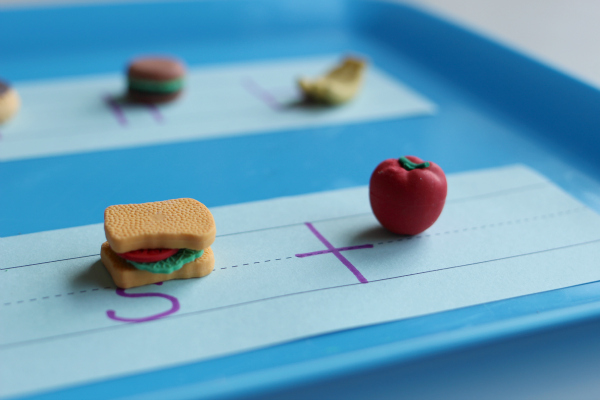 letter sounds matching with mini erasers