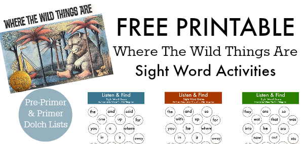 where the wild things are listen and find game no time for flash cards sight word activities