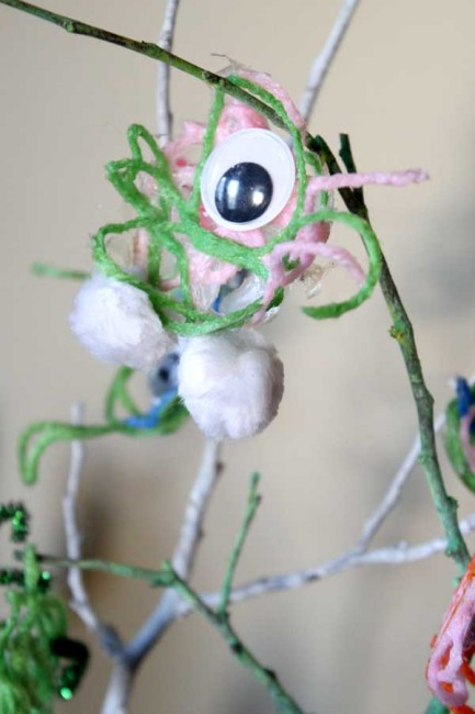 Yarn Monsters from Hands On As We Gorw