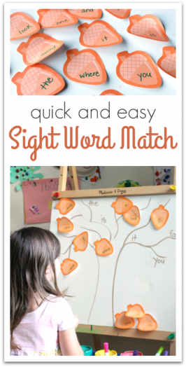 Quick & Easy Sight Word Matching Game
