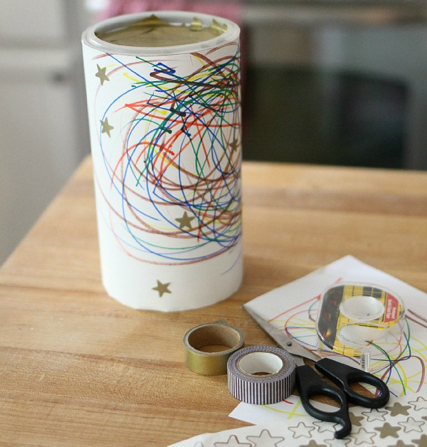 kid made gift box from oatmeal canister